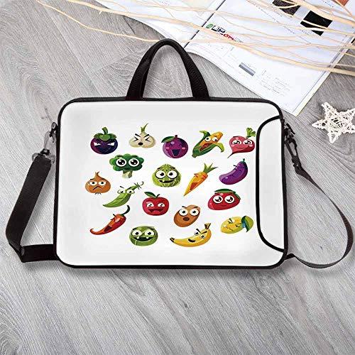 - Emoji Stylish Neoprene Laptop Bag,Fruits and Vegetables Carrot Banana Pepper Onion Garlic Food Cartoon Style Symbols Laptop Bag for Business Casual or School,13.8