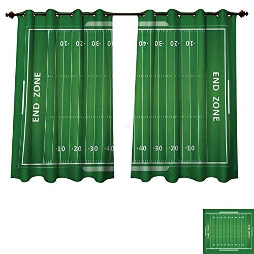 RuppertTextile Football Blackout Curtains Panels for Bedroom Field of The Game Strategy Tactics End Zone Touchdown Sports Competition Theme Decorative Curtains Green White W52 x L63 inch