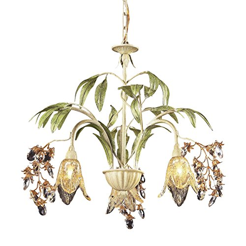 Elk 86052 3-Light Chandelier In Seashell And Amber Glass