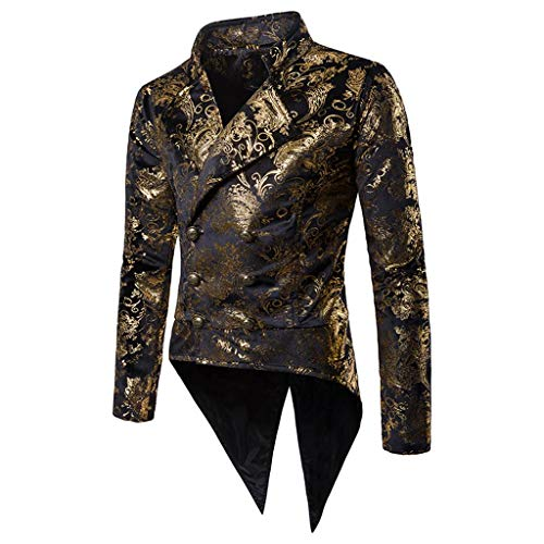 Luxfan Mens Vintage Tailcoat Tuxedo Gold Print Double Breasted Blazer Jacket Coat (Black, M)