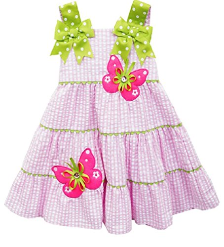 Rare Editions Easter Dress (Rare Editions Baby Girls Seersucker Rhinestone Butterfly Dress and Diaper Cover (24 Months, Pink/Lime))