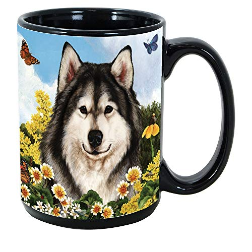 Imprints Plus Dog Breeds (A-D) Alaskan Malamute 15-oz Coffee Mug Bundle with Non-Negotiable K-Nine Cash (alaskan malamute 009)