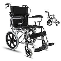 OCYE Light Transport Wheelchair/Adult Folding Wheelchair/Medical Transport Chair, Foot Pedal, Adjustable seat Belt, with Storage Bag