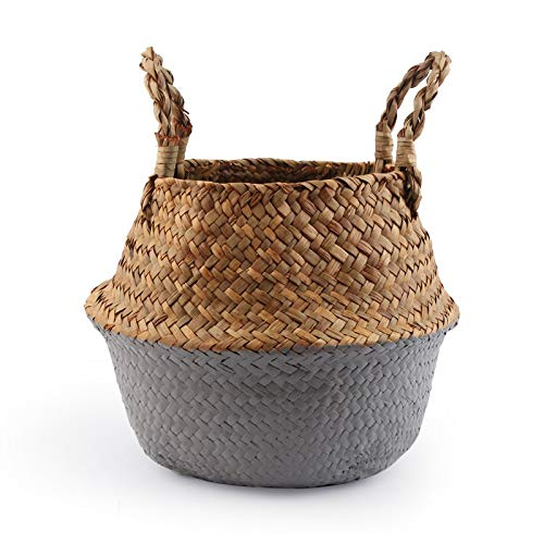 Best Quality - Storage Baskets - Handmade Folding Seagrass Rattan Belly Storage Basket Folding Wicker Flower Pot Hanging Laundry Hamper Storage Basket - by - 1 PCs (Wholesale Wicker Hampers)
