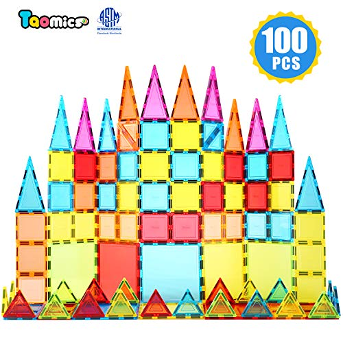 (Taomics 100PCS Magnetic Building Blocks, Strong 3D Clear Tiles Children Educational Stacking Toys for Imagination Inspirational Spatial Thinking Development, Magnet Construction Blocks Playboards Set)