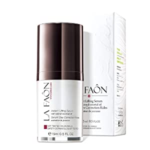 LA FAON Instant Lifting Serum - Instant Hydration for Facial, Neck, Eyes, Skin Tightening and Lifting Crepey face – Treatment for firming, Gel Facial Moisturizer, Intense Hyaluronic Acid, 0.5 Oz