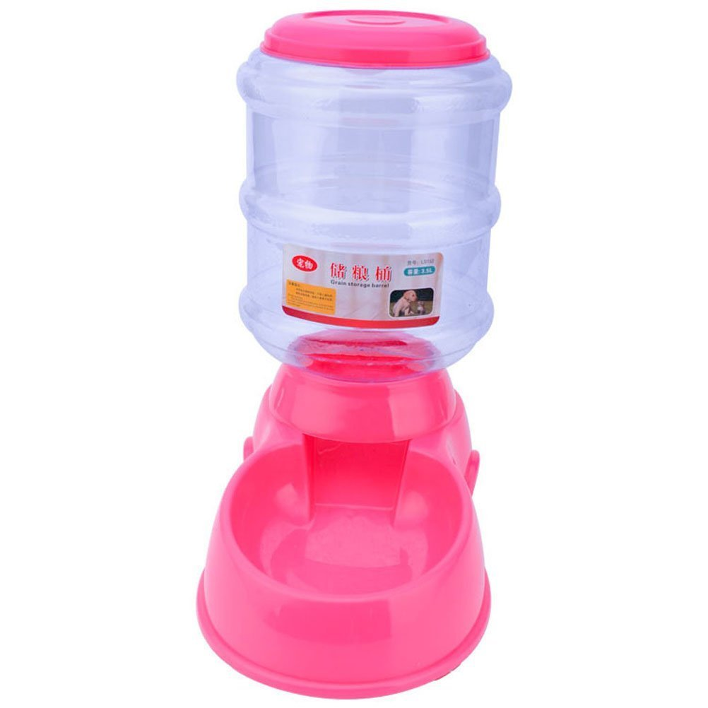 Puppy Cat Dog Pet Auto Feeder Water Bottle Food Bowl Portion Control 3 style (Food Dispenser, pink)