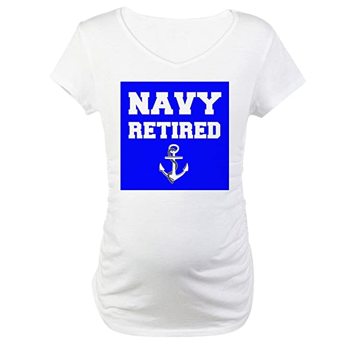 4f2f2117 CafePress Navy Retired Cotton Maternity T-Shirt, Cute & Funny Pregnancy Tee