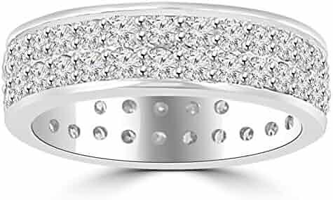 3.40 ct Men's Round Cut Diamond Eternity Wedding Band Ring in 14 kt White Gold