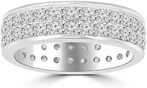 3.40 ct Men's Round Cut Diamond Eternity Wedding Band Ring in Platinum