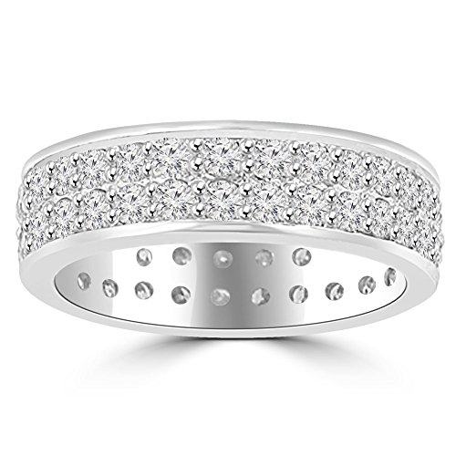 3.40 ct Men's Round Cut Diamond Eternity Wedding Band Ring in Platinum In Size 8.5 (Platinum Diamond Eternity Ring)