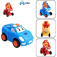 FunBlast Pull Push Back Action Robot Car Toy for Kids, Transformer Racing Car Push Back Bump & Go Toy Set for Kids (Random Color)