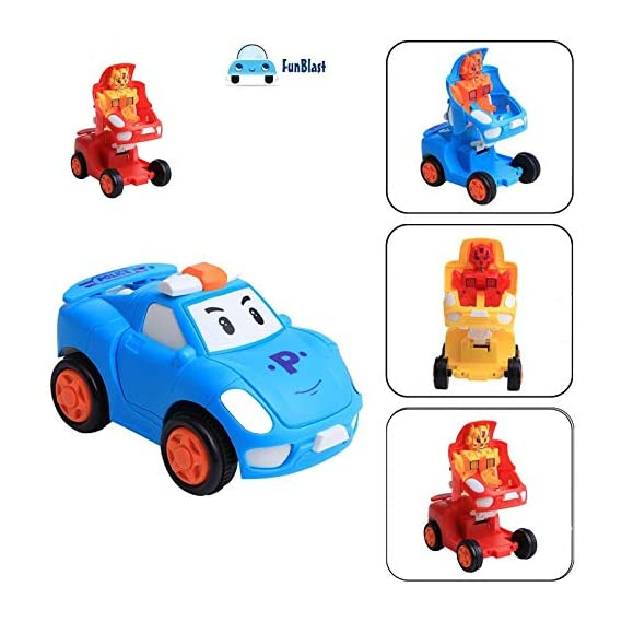 FunBlast Pull Push Back Action Robot Car Toy for Kids,Racing Car Push Back Bump & Go Toy Set for Kids (Random Color)