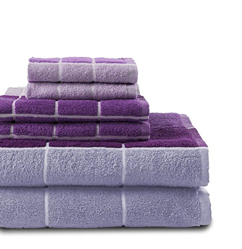 - Revere Mills Checkmate 6 Piece 100% Cotton Yarn Dyed Towel Set, Purple