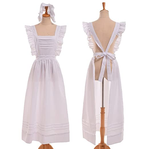 Victorian Edwardian Apron, Maid Costume & Patterns GRACEART Edwardian Victorian Maid Pinafore Apron $42.00 AT vintagedancer.com