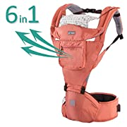 Aiebao Baby Carrier 360 All Carry Positions Ergonomic Breathable Forward Facing Child Carrier Sling for Infants and Toddler (3-36 Months), Including Detachable Hood Front and Side Pocket (Carmine Red)