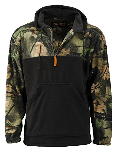 TrailCrest Fleece Hunting Camouflage 1/4 Zip Hooded Sweatshirt (XL, Black)