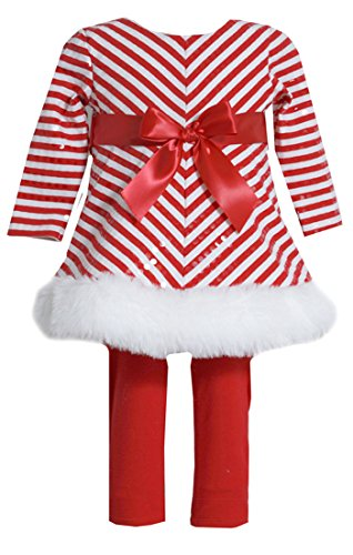 Bonnie Jean Toddler Girls' Chirstmas Knit Dress and Legging Set, Red Stripe, 2T (Mrs Claus Dress For Girls)