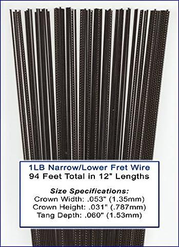 1 Pound Bulk Narrow/Lower Nickel-Silver Fret Wire for Mandolin, Ukulele, Dulcimer, Banjo, Cigar Box Guitar & (Ukulele Fret Wire)