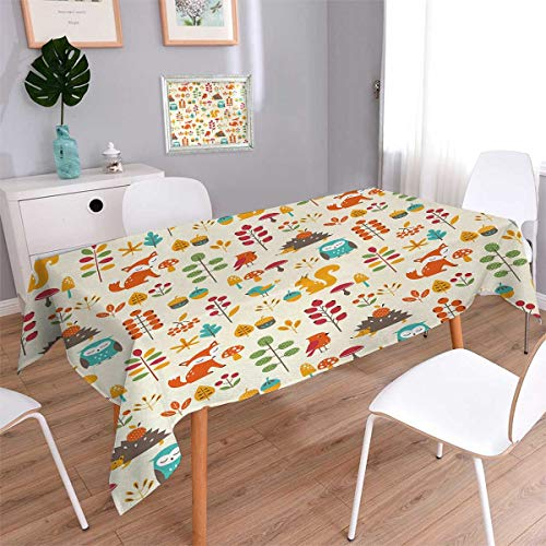 Children Oblong Patterned Tablecloth Cute Kids Autumn Pattern with Owl Fox Squirrel Birds Animal Leaves Artsy Print Dust-proof Oblong Tablecloth Multicolor Size: W70