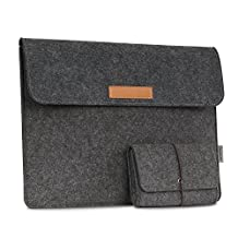 MoKo 13.5-Inch Sleeve Bag for Surface Laptop / Surface Book (2015 / 2016), Felt Protective Ultrabook Carrying Case Cover, with Small Felt Bag, Built in Flannel Interior & Two Back Pockets - Dark Gray