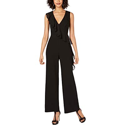 Connected Ruffle-Front Jumpsuit, Size 12, Black: Clothing
