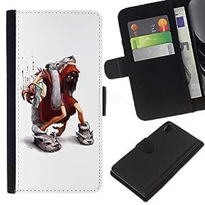KLONGSHOP // Tirón de la caja Cartera de cuero con ranuras para tarjetas - Dibujos animados de blanco minimalista - Sony Xperia Z2 D6502 //