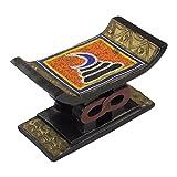 NOVICA Decorative Aluminum Stools, Multicolor, Adinkra Vigilance'
