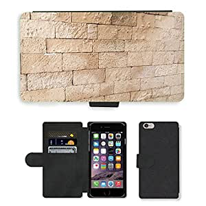 PU Cuir Flip Etui Portefeuille Coque Case Cover véritable Leather Housse Couvrir Couverture Fermeture Magnetique Silicone Support Carte Slots Protection Shell // M00156289 Los ladrillos de la pared patrón de // Apple iPhone 6 PLUS 5.5""