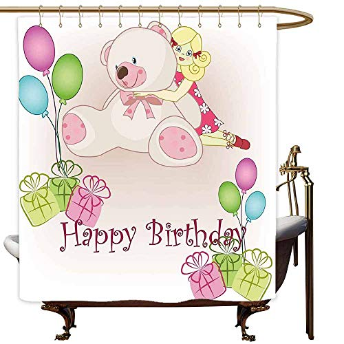 SKDSArts Shower Curtains Brown and Blue Kids Birthday,Baby Girl Birthday with Teddy Bears Toys Balloons Surprise Boxes Dolls Image,Pale Pink,W65 x L72,Shower Curtain for Girls -