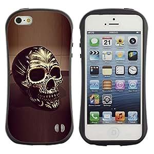 "Pulsar iFace Series Tpu silicona Carcasa Funda Case para Apple iPhone SE / iPhone 5 / iPhone 5S , Cráneo Negro Oro Bling Muerte 3D del motorista"""