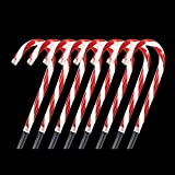 Home Accents Holiday 10 in. Easy to Set Up Pre-Lit Warm Glow Candy Cane Pathway Stakes (Set of 8) for Sidewalk, Driveway, Yard and Pathway For Sale