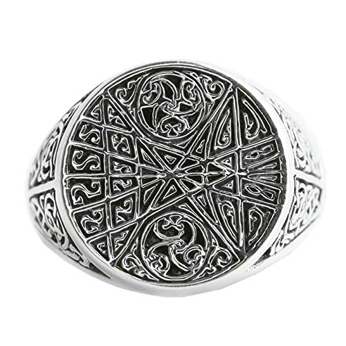 Aeici 925 Silver Ring Flower Vine Pattern Round Comfort Fit Signet Rings Men's Women's Silver Size 12