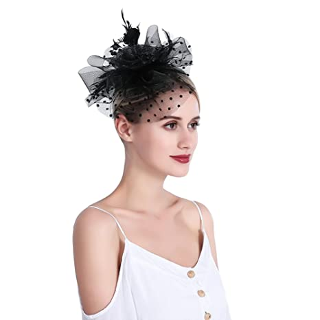 inSowni Vintage 1920S Fascinator Flower Hat Feather Mesh with Headband Clip  for Women Girls (Black S1) at Amazon Women s Clothing store  7c2c2587d7aa