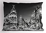 Ambesonne Black and White Decorations Pillow Sham, Madrid City Night Spain Main Street Ancient Architecture, Decorative Standard Size Printed Pillowcase, 26 X 20 Inches, Grey