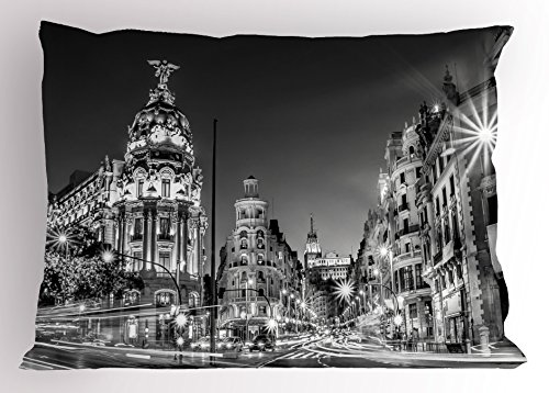 Ambesonne Black and White Decorations Pillow Sham, Madrid City Night Spain Main Street Ancient Architecture, Decorative Standard Size Printed Pillowcase, 26 X 20 Inches, Grey by Ambesonne