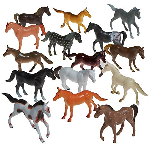 Prextex Plastic Horses Party Favors, 16 Count (All different horses in various poses and colors) Best Gift For Boys Toys For boys by Prextex.com