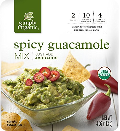 Simply Organic Spicy Guacamole Dip Mix | Just Add Avocados | Certified Organic | 4 oz. (Pack of - Seasoning Guacamole