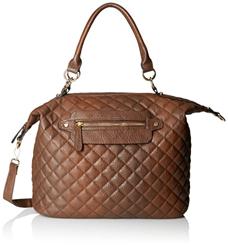DEL MANO Quilted Convertible Top Handle Bag, Brown, One Size (Quilted Leather Tote Bag)