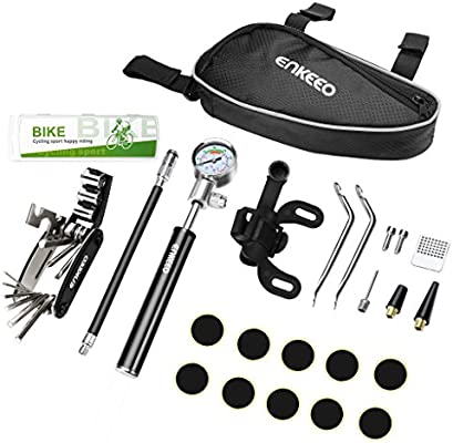 ENKEEO Kit de reparación de neumáticos con mini bomba de bicicleta ...