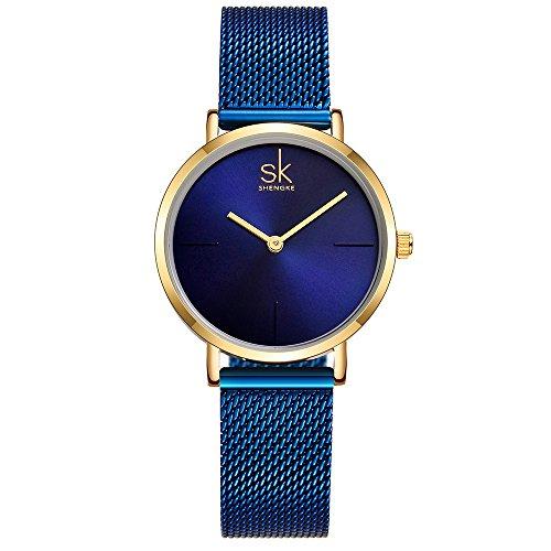 SK Watches Women Stainless Steel Band Ladies Quartz Wristwatches Women Clock Bracelet Watch (Blue)