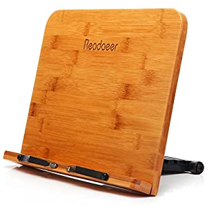 Readaeer Bamboo Reading Rest Cook Book Document Stand Holder Bookrest
