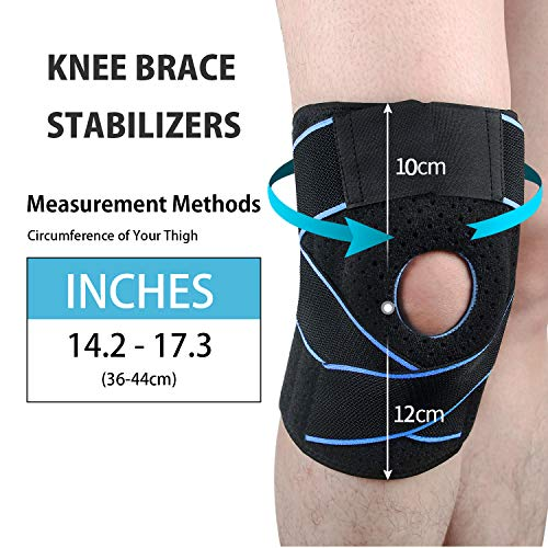 SKDK Adjustable Pressurized Knee Brace Knee Support with Side Stabilizers & Patella Gel Pads for Recovery Aid, Patellar Tendon, Arthritis, Basketball, Running, Hiking and Gym,Knee Pads (Black, Free Size)