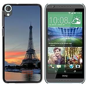 YiPhone /// Prima de resorte delgada de la cubierta del caso de Shell Armor - Eiffel Tower - HTC Desire 820