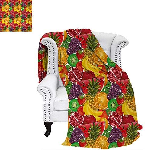 Custom Design Cozy Flannel Blanket Exotic Tropical Fresh Ripe Juicy Fruits Pineapple Berries Watermelon Grape Orange Weave Pattern Blanket 90