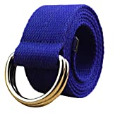Fashion Double D-Ring Buckle Thicken Canvas Belt Casual Waistband (Blue)
