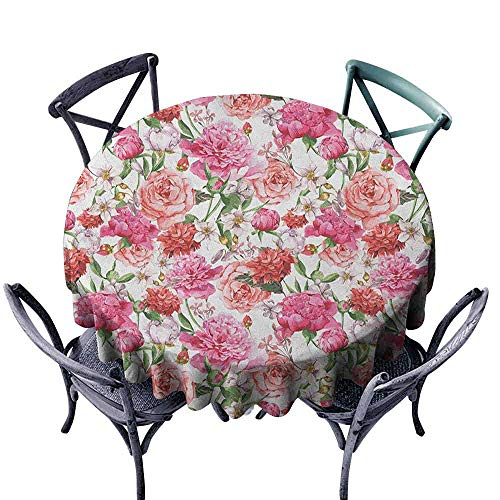 ScottDecor Printed Round Tablecloth Picnic Cloth Watercolor Flower,Victorian Floral Pattern Painting Style Print with Peonies and Roses, Pink Red White Diameter -