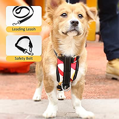 Adjustable Dog Safety Vest Harnesses, Mugenter Outdoor Walking Safety Chest Straps, Vest Harness with Car Seat Belt Restraint Lead for Small Medium Large Extra-Large Dogs