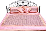 Geranium-Pink Five-Piece Banarasi Bedspread with Woven Flowers - Art Silk with Pillow Cases and Cush
