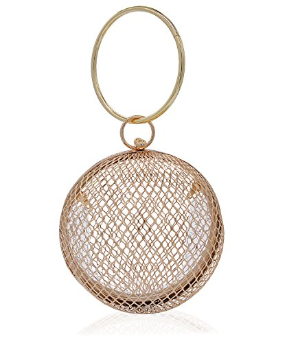 Miuco Women Chain Crossbody Bags Hollow Out Cage Metal Round Clutch Gold (Bag Womens Metal)